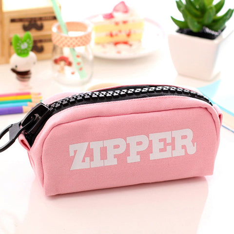 Canvas Pencil Case with big zipper-Stationary/School