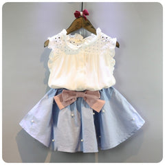 Image of 2-8 Years Girls Clothes - The Bow Skirt and Lace Top Summer