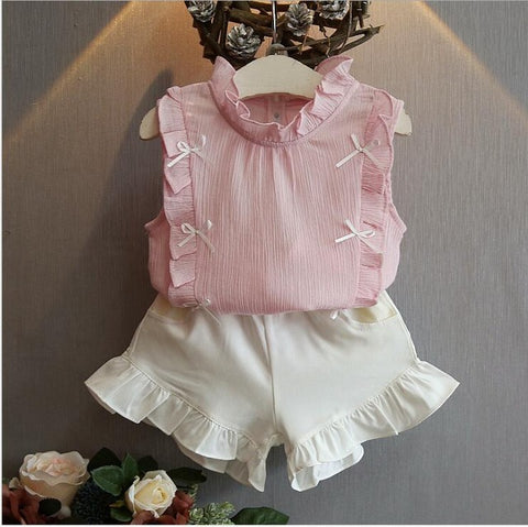 2-8 Years Girls Clothes - The Bow Skirt and Lace Top Summer