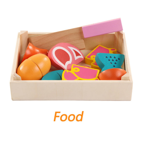 Wooden Kitchen Toys Cutting  food toys - Kids - Baby Toys