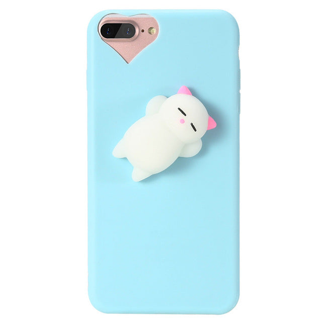 Squishy Phone Case For iPhone 6 6s 7 3D Cute Cat Soft Silicone Case For iPhone 6 6s 7 Plus 5 5s SE smartphone covers