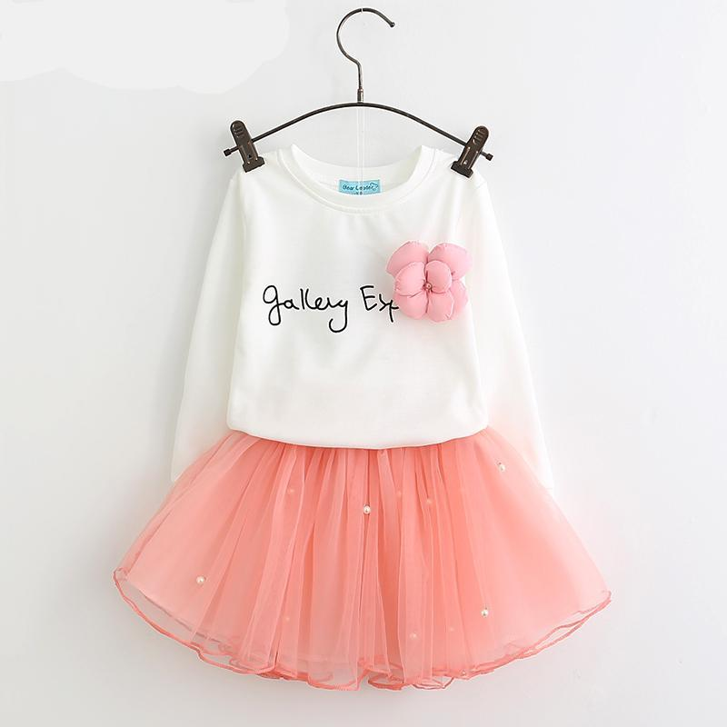 Lovely Girls White Tee Shirt and Pink Skirt With Rhinestone - Girls Clothes