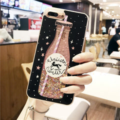 Drink bottle quicksand Case for iphone 7 7Plus  For iphone X 6 6s 8 8plus 6Plus smartphone covers