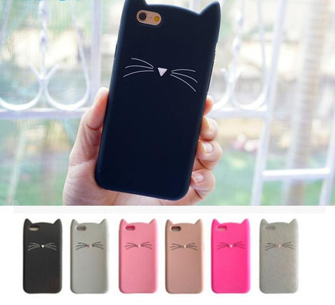 Cat Ear silicone case For iphone X 8 plus 5 5S SE 6 6s 7 plus rubber smartphone covers