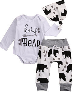 Baby Clothing Newborn Baby New to The Tribe Romper +Black Rose Pants Headband Outfit ***