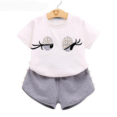 Image of Girls Clothing Set Pearl Set Lovely Long Eyelashes