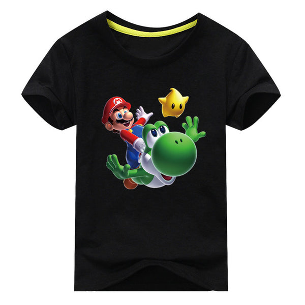 Mario Print Short Sleeve T-shirt For Boy Girl 100%Cotton - Clothes ***