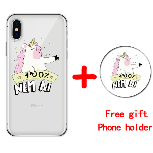 Cute Unicorn Cartoon Transparent Ultra Thin Soft Silicone Phone Case Back Cover For iPhone X 6 S 7 8 Plus 5S smartphone covers