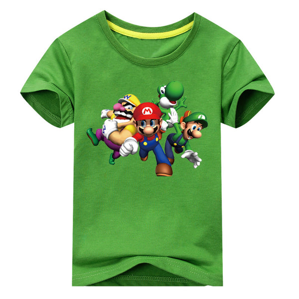 Mario Print Short Sleeve T-shirt For Boy Girl 100%Cotton Tshirt - Clothes