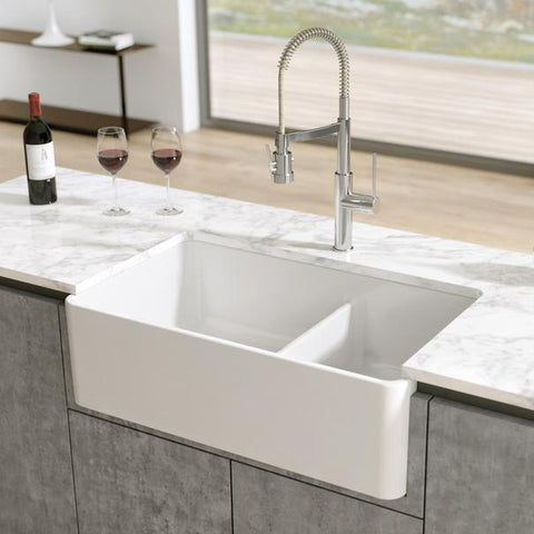 "33"" Double Bowl Farmhouse Sink by Latoscana 