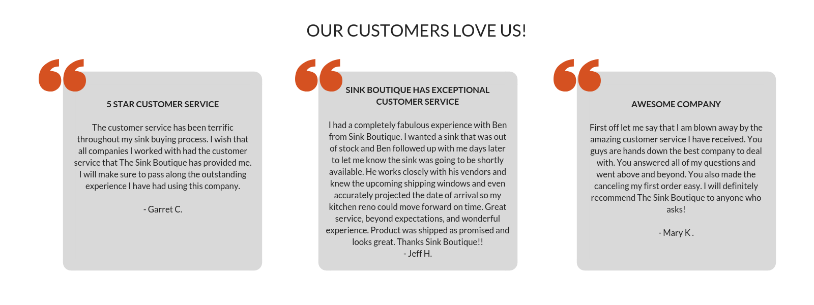 Our Customer Love Us | The Sink Boutique
