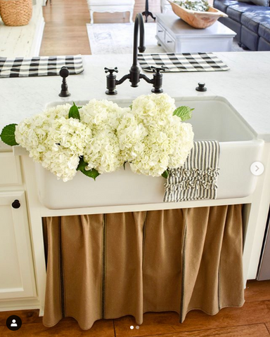 Farmhouse Sink with Curtains | The Sink Boutique