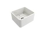 "BOCCHI Classico 20"" Fireclay Farmhouse Apron Single Bowl Kitchen Sink, White, 1136-001-0120 with Grid Angled View 