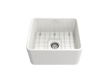 "BOCCHI Classico 20"" Fireclay Farmhouse Apron Single Bowl Kitchen Sink, White, 1136-001-0120 with Grid Straight View 