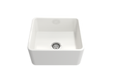 "BOCCHI Classico 20"" Fireclay Farmhouse Apron Single Bowl Kitchen Sink, White, 1136-001-0120 Straight View 