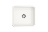 "BOCCHI Classico 20"" Fireclay Farmhouse Apron Single Bowl Kitchen Sink, White, 1136-001-0120 Top View 