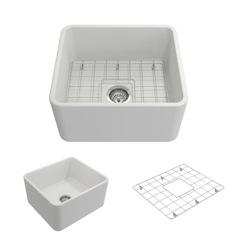 "BOCCHI Classico 20"" Fireclay Farmhouse Apron Single Bowl Kitchen Sink, Matte White, 1136-002-0120 Showcase Image 