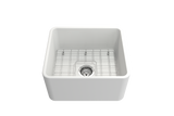 "BOCCHI Classico 20"" Fireclay Farmhouse Apron Single Bowl Kitchen Sink, Matte White, 1136-002-0120 with Grid Straight View 