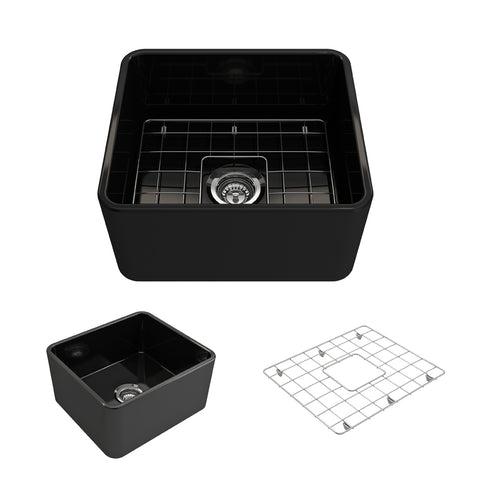 "BOCCHI Classico 20"" Fireclay Farmhouse Apron Single Bowl Kitchen Sink, Black, 1136-005-0120 Showcase Image 