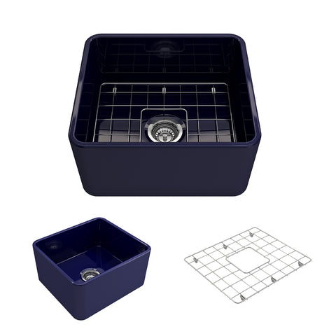 "BOCCHI Classico 20"" Fireclay Farmhouse Apron Single Bowl Kitchen Sink, Sapphire Blue, 1136-010-0120 Showcase Image 