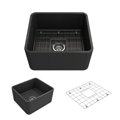 "BOCCHI Classico 20"" Fireclay Farmhouse Apron Single Bowl Kitchen Sink, Matte Dark Gray, 1136-020-0120 Showcase Image 