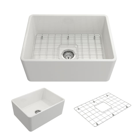 "BOCCHI Classico 24"" Fireclay Farmhouse Apron Single Bowl Kitchen Sink, White, 1137-001-0120"