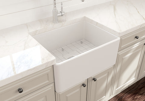"BOCCHI Classico 24"" Fireclay Farmhouse Apron Single Bowl Kitchen Sink, White, 1137-001-0120 Lifestyle Image 