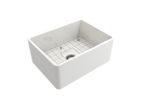 "BOCCHI Classico 24"" Fireclay Farmhouse Apron Single Bowl Kitchen Sink, White, 1137-001-0120 with Grid Angled View 