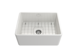 "BOCCHI Classico 24"" Fireclay Farmhouse Apron Single Bowl Kitchen Sink, White, 1137-001-0120 with Grid Straight View 