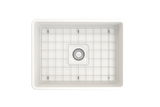 "BOCCHI Classico 24"" Fireclay Farmhouse Apron Single Bowl Kitchen Sink, White, 1137-001-0120 Top View with Grid 
