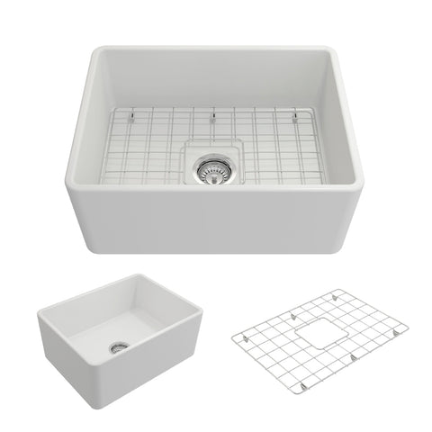 "BOCCHI Classico 24"" Fireclay Farmhouse Apron Single Bowl Kitchen Sink, Matte White, 1137-002-0120 Showcase Image 