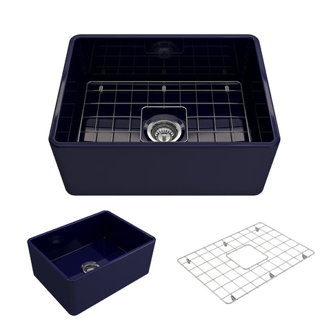 "BOCCHI Classico 24"" Fireclay Farmhouse Apron Single Bowl Kitchen Sink, Sapphire Blue, 1137-010-0120 Showcase Image 