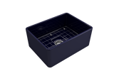 "BOCCHI Classico 24"" Fireclay Farmhouse Apron Single Bowl Kitchen Sink, Sapphire Blue, 1137-010-0120 with Grid Angled View 