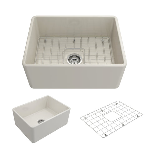 "BOCCHI Classico 24"" Fireclay Farmhouse Apron Single Bowl Kitchen Sink, Biscuit, 1137-014-0120 Showcase Image 