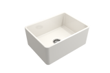 "BOCCHI Classico 24"" Fireclay Farmhouse Apron Single Bowl Kitchen Sink, Biscuit, 1137-014-0120 