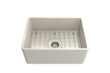 "BOCCHI Classico 24"" Fireclay Farmhouse Apron Single Bowl Kitchen Sink, Biscuit, 1137-014-0120 with Grid Straight View 