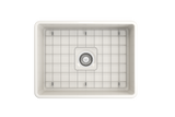 "BOCCHI Classico 24"" Fireclay Farmhouse Apron Single Bowl Kitchen Sink, Biscuit, 1137-014-0120 Top View with Grid 