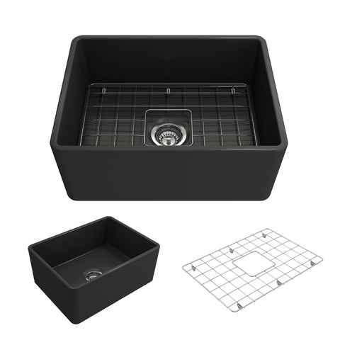 "BOCCHI Classico 24"" Fireclay Farmhouse Apron Single Bowl Kitchen Sink, Matte Dark Gray, 1137-020-0120 Showcase Image 