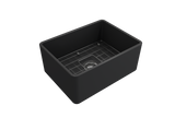 "BOCCHI Classico 24"" Fireclay Farmhouse Apron Single Bowl Kitchen Sink, Matte Dark Gray, 1137-020-0120 with Grid Angled View 