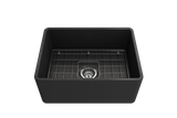 "BOCCHI Classico 24"" Fireclay Farmhouse Apron Single Bowl Kitchen Sink, Matte Dark Gray, 1137-020-0120 with Grid Straight View 
