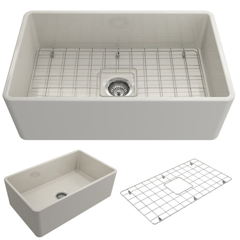 "BOCCHI Classico 30"" Fireclay Farmhouse Apron Single Bowl Kitchen Sink, Biscuit, 1138-014-0120 Showcase Image 