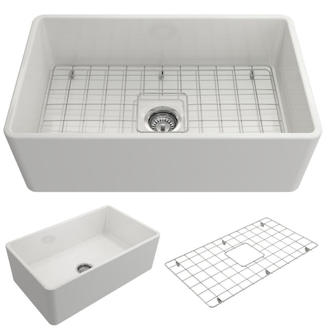 "BOCCHI Classico 30"" Fireclay Farmhouse Apron Single Bowl Kitchen Sink, White, 1138-001-0120"