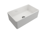 "BOCCHI Classico 30"" Fireclay Farmhouse Apron Single Bowl Kitchen Sink, White, 1138-001-0120 