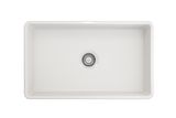 "BOCCHI Classico 30"" Fireclay Farmhouse Apron Single Bowl Kitchen Sink, White, 1138-001-0120 Top View 