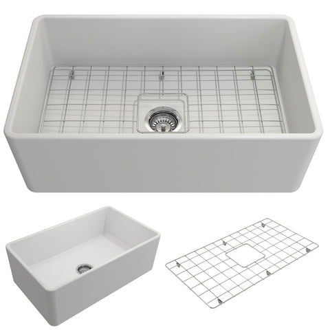 "BOCCHI Classico 30"" Fireclay Farmhouse Apron Single Bowl Kitchen Sink, Matte White, 1138-002-0120 Showcase Image 