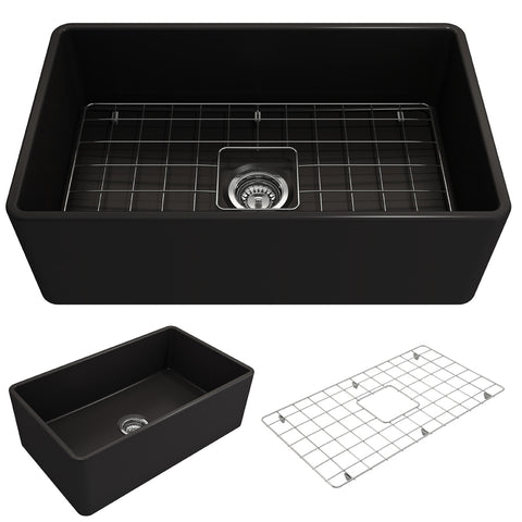 "BOCCHI Classico 30"" Fireclay Farmhouse Apron Single Bowl Kitchen Sink, Matte Black, 1138-004-0120"