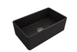 "BOCCHI Classico 30"" Fireclay Farmhouse Apron Single Bowl Kitchen Sink, Matte Black, 1138-004-0120 