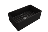 "BOCCHI Classico 30"" Fireclay Farmhouse Apron Single Bowl Kitchen Sink, Matte Black, 1138-004-0120 with Grid Angled View 