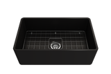 "BOCCHI Classico 30"" Fireclay Farmhouse Apron Single Bowl Kitchen Sink, Matte Black, 1138-004-0120 with Grid Straight View 