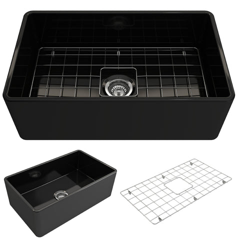 "BOCCHI Classico 30"" Fireclay Farmhouse Apron Single Bowl Kitchen Sink, Black, 1138-005-0120 Showcase Image 